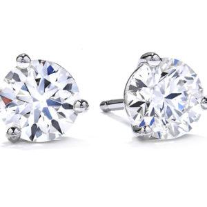 Hearts on Fire Three Prong Dream Stud Earrings