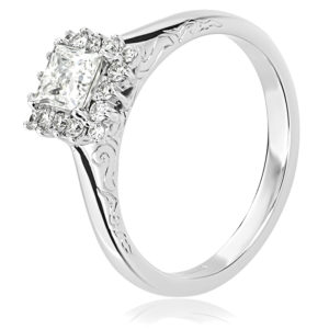 Claw set Princess Cut Engagement Ring