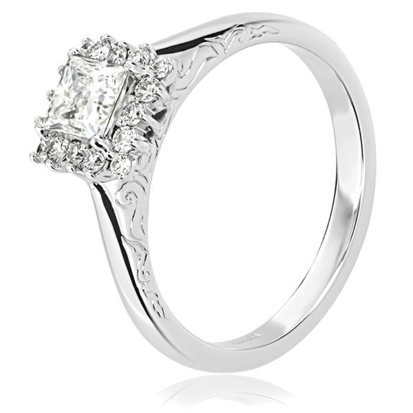 Claw set Princess Cut Engagement Ring