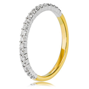 Two-Tone Claw Set Diamond Wedding Ring