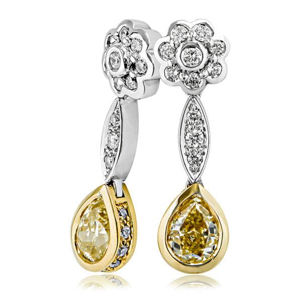 Yellow & White Diamond Earrings