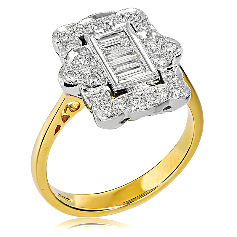18ct Yellow White Gold Baguette Engagement Ring Anthonys Fine Jewellery