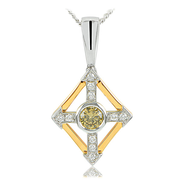 Cognac and White Diamond Pendant