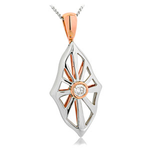 Rose and White Gold Diamond Pendant