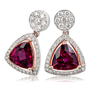 Pink Tourmaline & Diamond Earrings