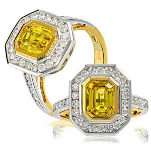 Golden Sapphire & Diamond Ring