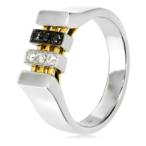 Black & White Diamond Gents Ring