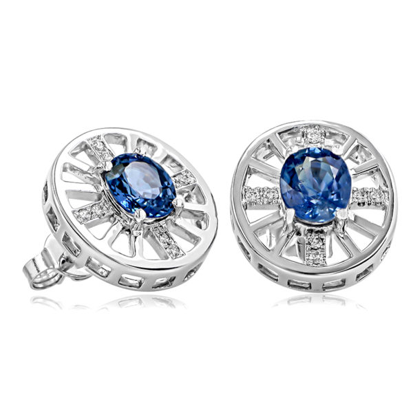 Ceylon Blue Sapphire and Diamond Studs