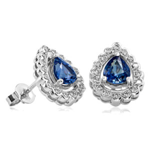 Pear Shaped Sapphire and Diamond Studs