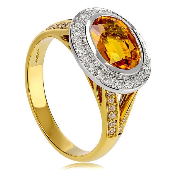 Across The Finger Coloured Oval Ring