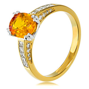 Golden Sapphire and Diamond Channel Set Ring