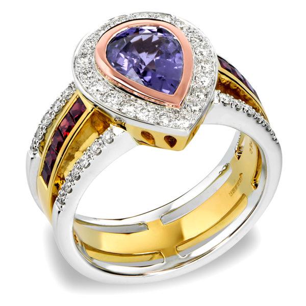 Purple and Orange Sapphire Ring