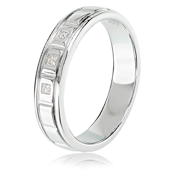 Flush Set Band with Princess Cut Diamonds
