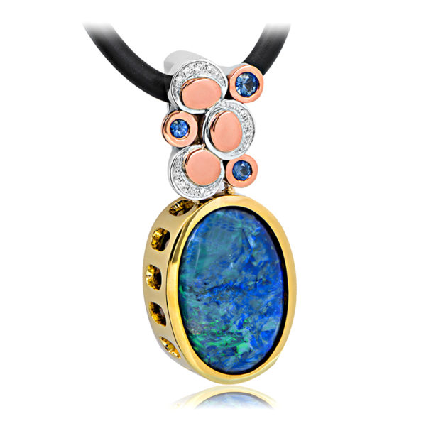 Australian Opal, Diamond & Sapphire Pendant