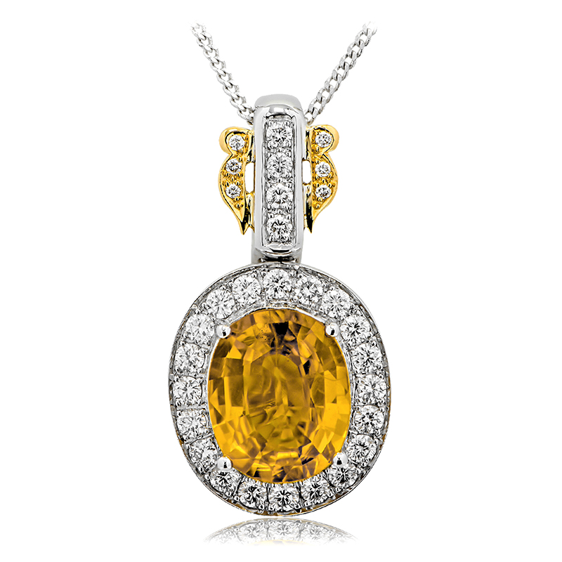 18ct yellow white gold oval golden sapphire pendant anthonys yellow sapphire pendant aloadofball Choice Image