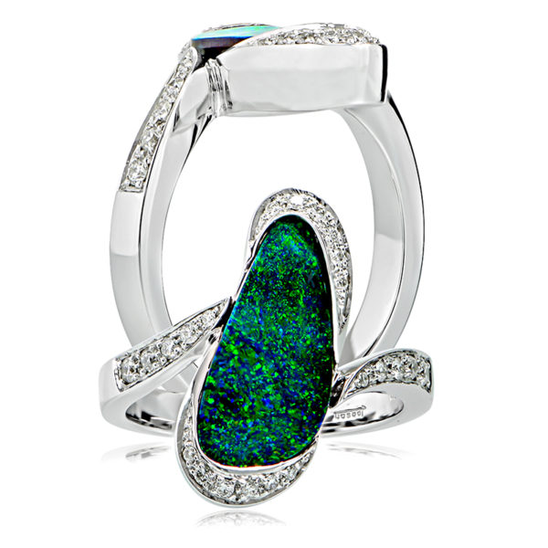 Solid Opal and Round Diamond Ring