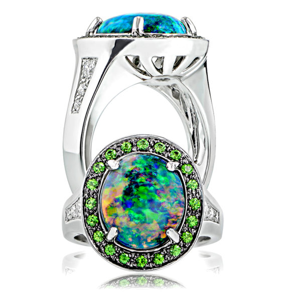 Black Opal & Tsavorite Ring