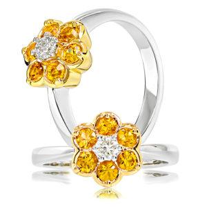 Golden Sapphire Flower Ring