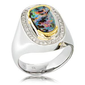 White Opal Men's Ring
