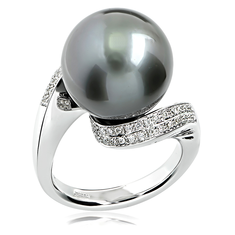 18ct White Gold 14 Mm Natural Tahitian Pearl Ring Anthonys Fine