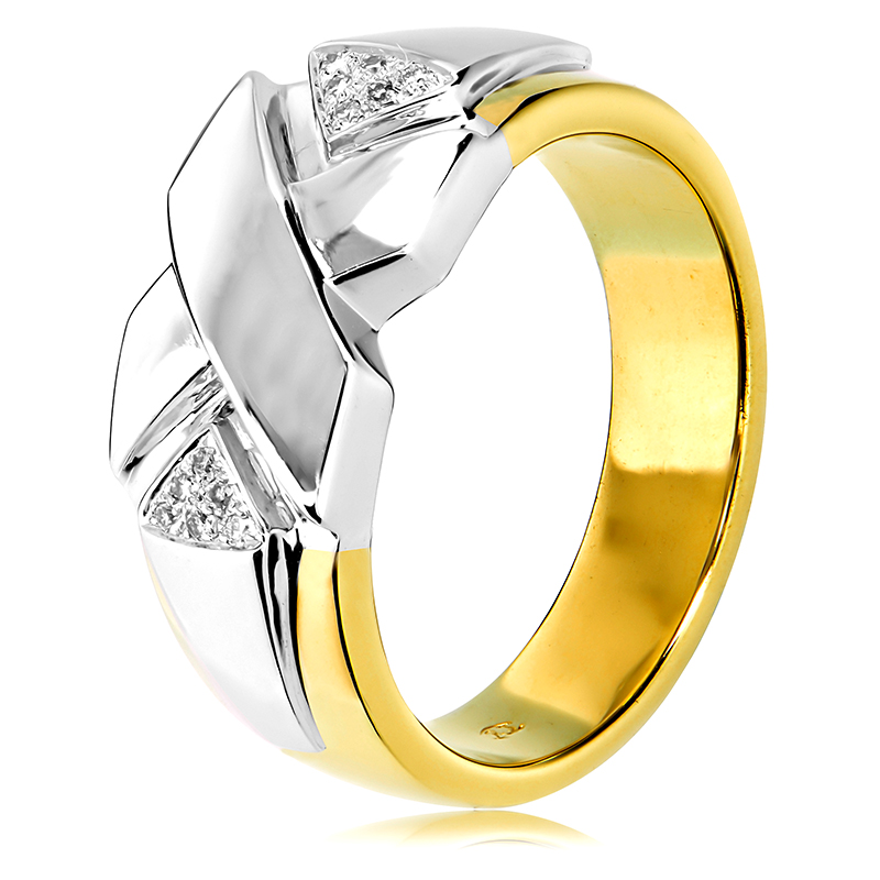 9ct Yellow And White Gold Diamond Mens Ring Anthonys Fine Jewellery