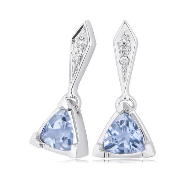 Aquamarine & Diamond Earrings