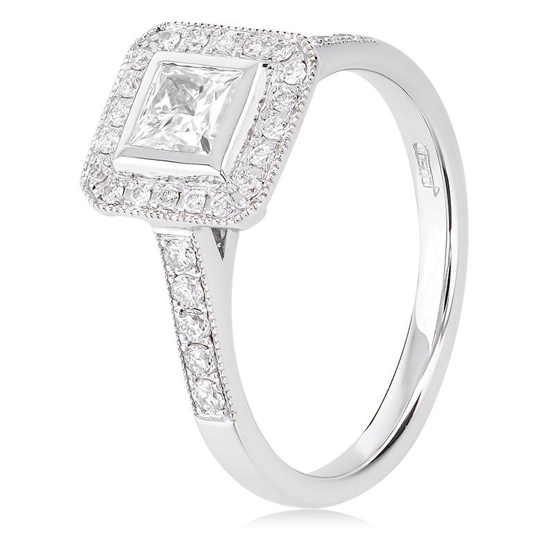 18CT WHITE GOLD PRINCESS CUT DIAMOND ENGAGEMENT RING ...