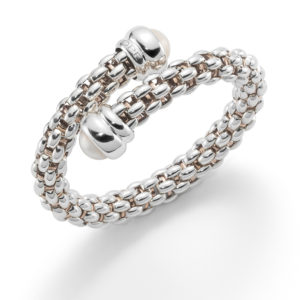 'Silver Fope Star' Bangle With Pearl
