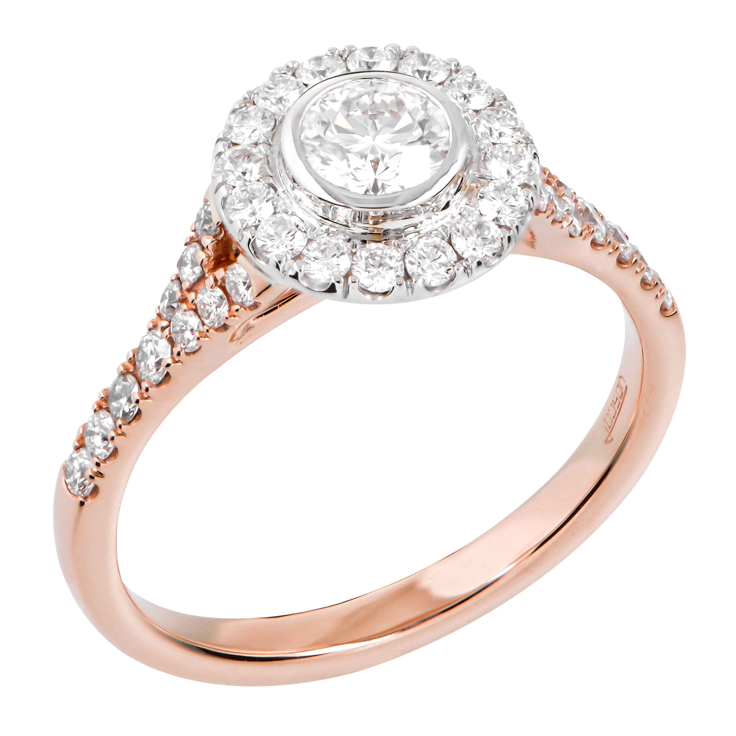 18CT ROSE AND WHITE GOLD DIAMOND ENGAGEMENT RING
