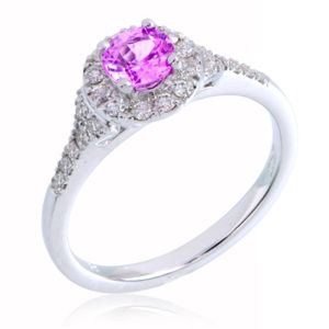 Love in Colour Round Brilliant Halo Ring