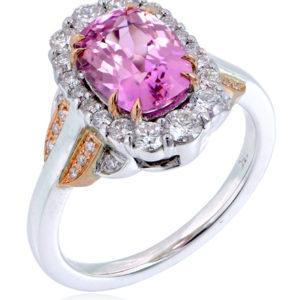 Pink Tanzanite Halo Ring