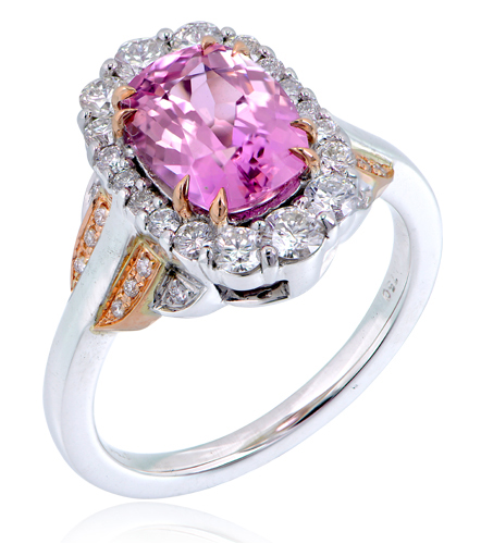 18ct Rose And White Gold Pink Tanzanite And Diamond Ring