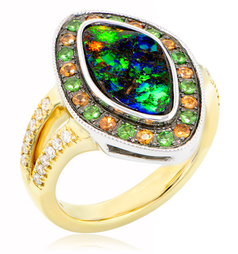 Natural Cathedral Window Boulder Opal Ring